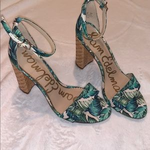 Sam Edelman tropical palm leaves heels 💚🤍